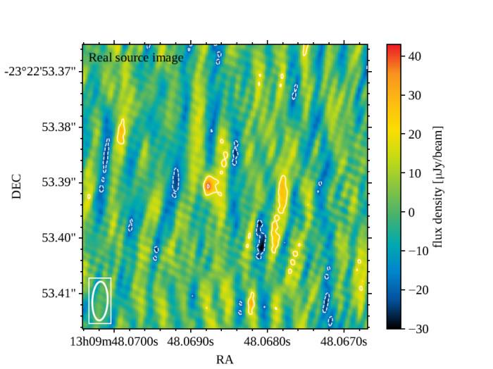 由五大洲33个射电望远镜组合的全球观测网获得的双中子星并合后产生的喷流的图像。伪彩色图像表示亮度,图像中心最亮的红点是喷流,图中其余成份都是噪声。图片来源:Gh