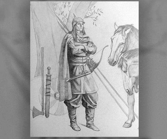该名女性战士的模拟画像。