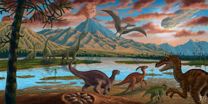 小行星坠落和大规模火山喷发共同导致了恐龙和其他中生代动物的灭绝