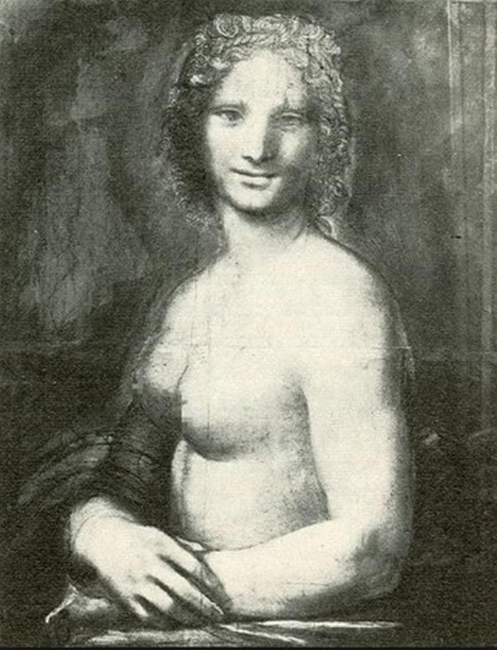 裸体版《蒙娜丽莎》炭笔素描画《蒙娜瓦纳》或是达芬奇最钟爱的男助理