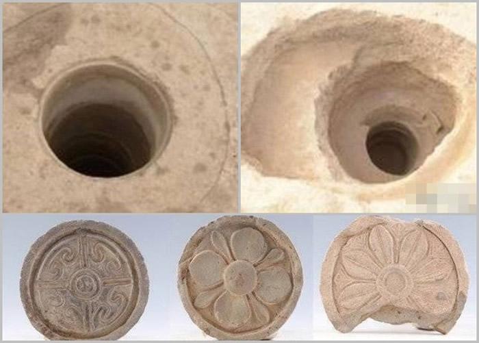 遗址内发现其中2口水井(左上及右上图),以及部分出土的文物(下图)。