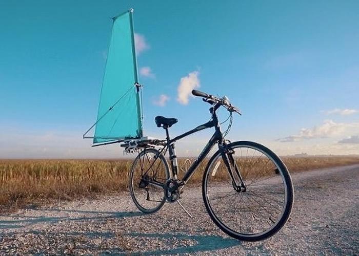 """美国工程师设计出专供自行车使用的可拆卸风帆""""CycleWing"""""""
