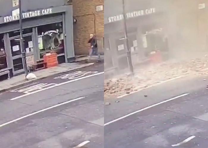 英国伦敦东部哈克尼男子经过咖啡店时屋檐突然倒塌 幸运与死神擦身而过