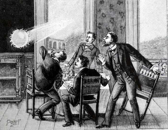 这幅法国插图描绘的是球状闪电从窗户飞进房间,历史上有许多这样的纪录。 ILLUSTRATION FROM WORLD HISTORY ARCHIVE, ALAM