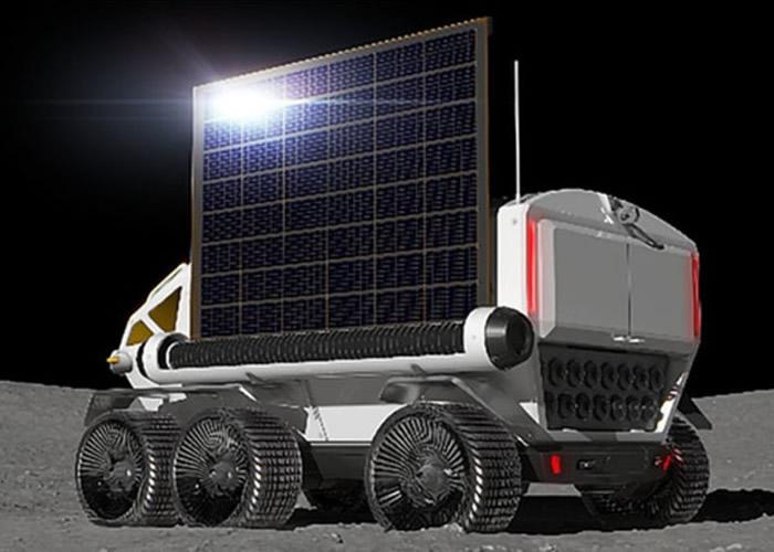 载人加压月球车由太阳能驱动。
