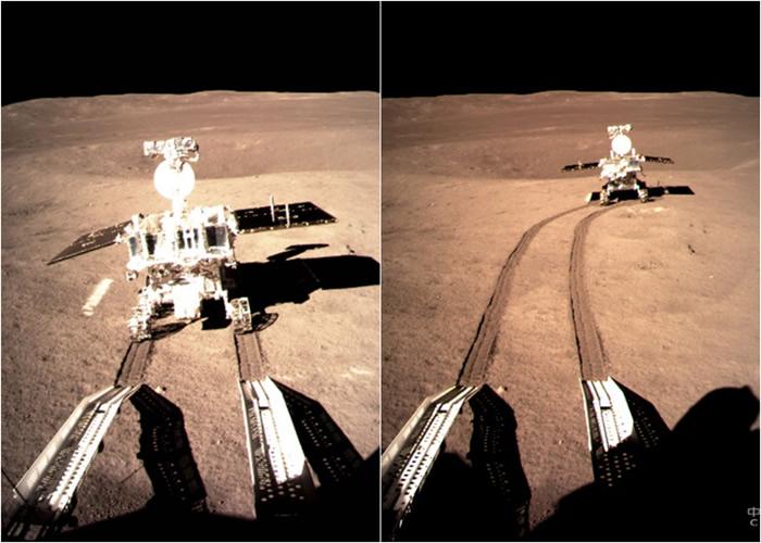 玉兔2号与着陆器分离,在月球表面留下了第一道痕迹。