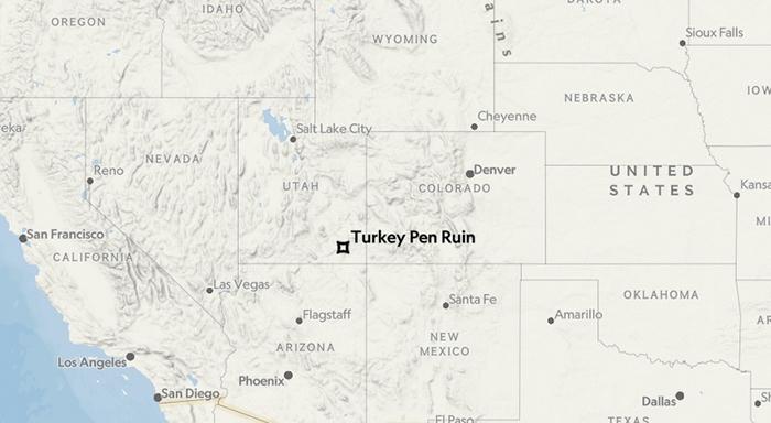 图中星号为火鸡圈废墟(Turkey Pen site)在北美大陆的位置。
