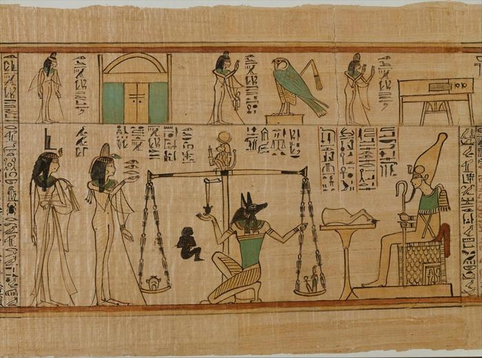 胡狼头神──阿努比斯(Anubis)是埃及神话中掌管木乃伊制作与死后世界的神祇。 在这幅画作里,阿努比斯正在调整一个天平──一个记载于《死者之书》(Book o