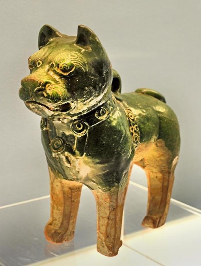 这尊来自东汉(公元25年 -220 年)的釉面陶瓷狗可能代表了一只松狮犬或沙皮狗。 在古代中国,这两个品种都是重要的工作犬。 PHOTOGRAPH BY PET