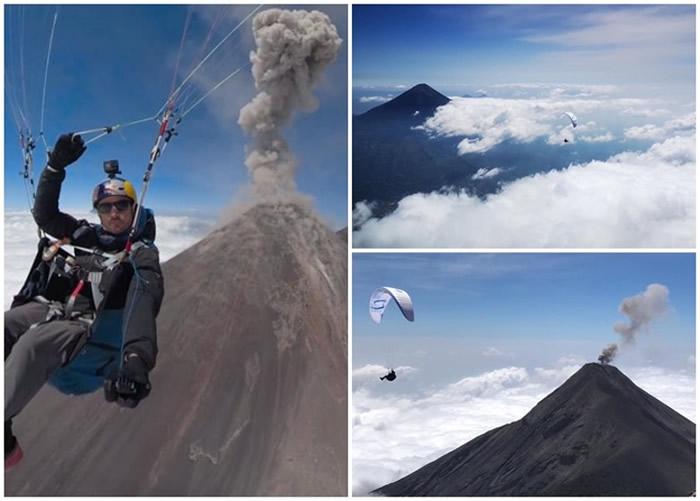 西班牙极限运动好手Horacio Llorens Fernandez冒险乘滑翔伞飞越位危地马拉富埃戈火山