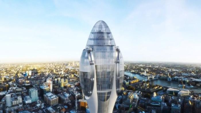 """观光塔""""郁金香""""楼高305米,在伦敦市内显得鹤立鸡群。"""