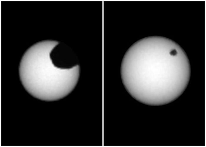 火卫一(左图)及火卫二(右图)先后在太阳表面掠过。