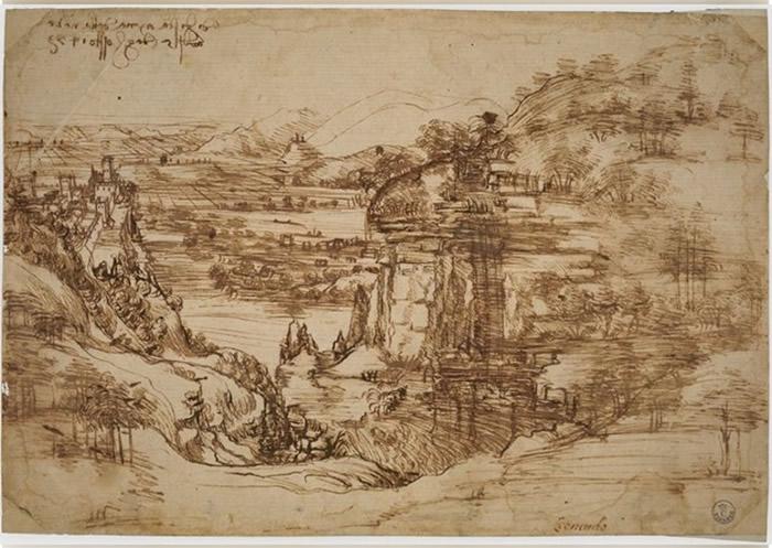 1473年的素描画作《风景 8P》(Landscape 8P)或证实达芬奇能够左右手并用
