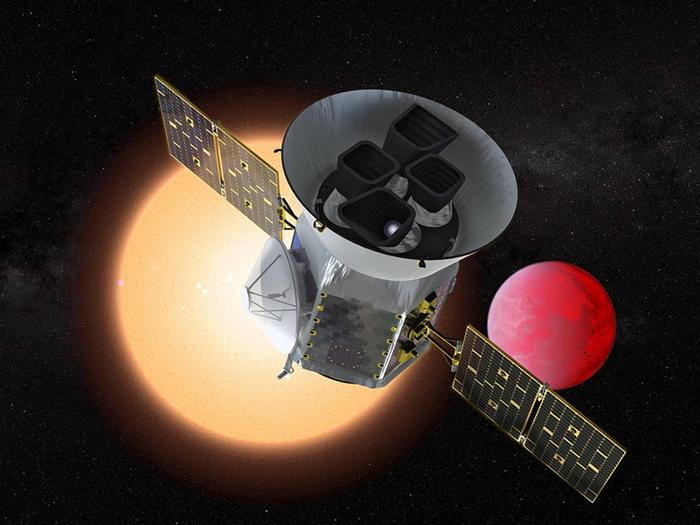 在这张艺术家的想象图中,美国航天总署(NASA)的凌日系外行星巡天卫星(Transiting Exoplanet Survey Satellite,简称TESS