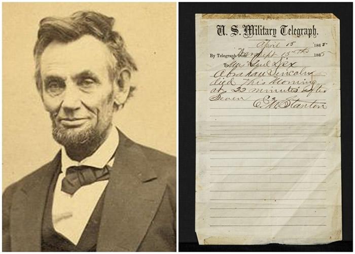 林肯(左图)遇刺死讯的电报手稿(右图)将首次拍卖。