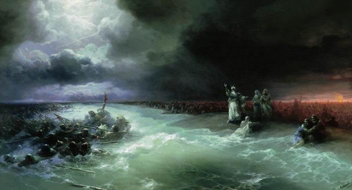 """124年前沉船""""科策布大将军""""上发现艾瓦佐夫斯基油画"""