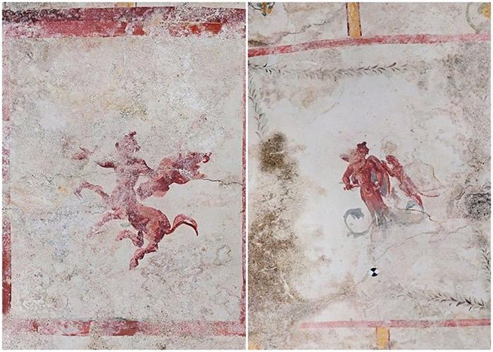 壁画上亦有半人马像及花卉装饰。