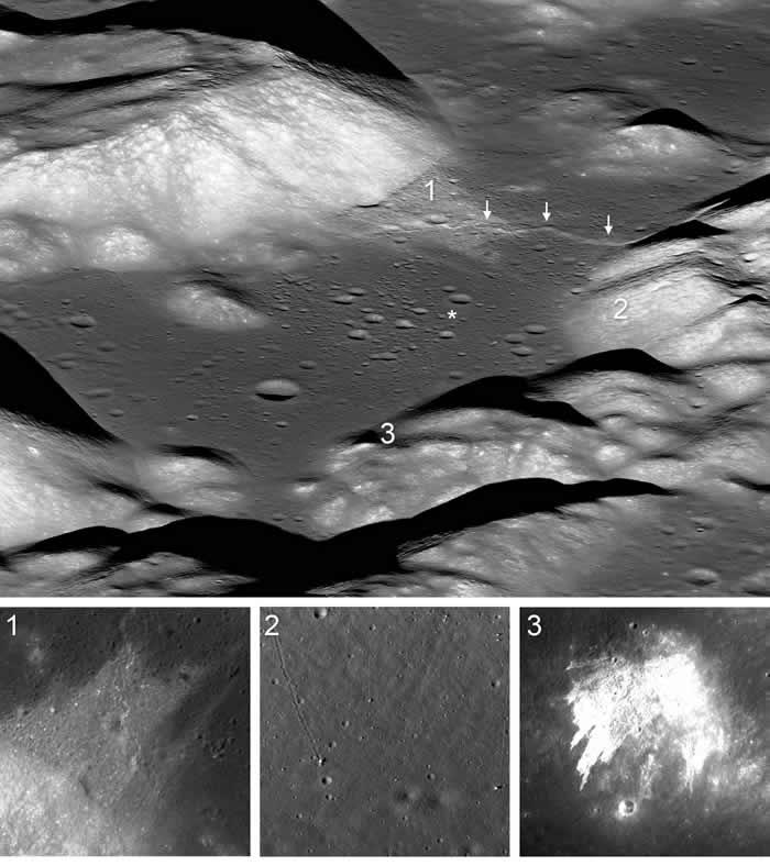 美国宇航局月球勘测轨道器图像显示月球表面正在逐渐萎缩 并发生月震