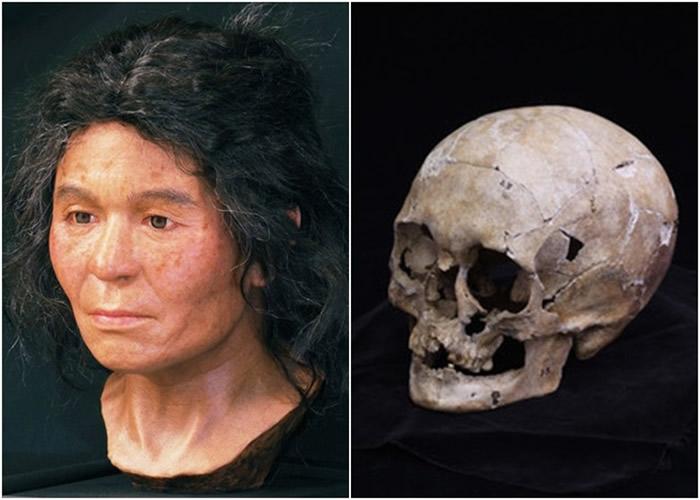 团队根据头盖骨(右图)模拟出该名女子生前的样貌(左图)。