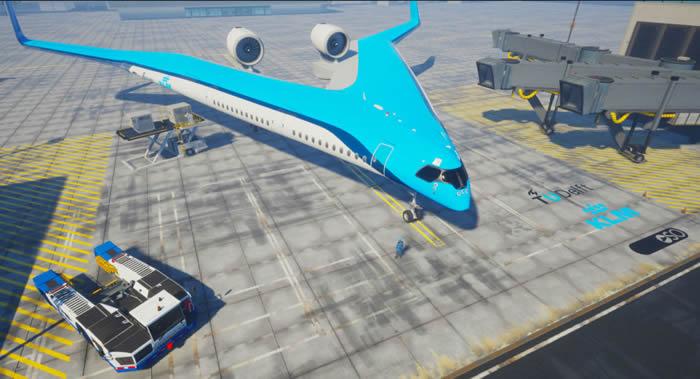 """荷兰开发商展示""""飞翼""""未来概念客机Flying-V"""