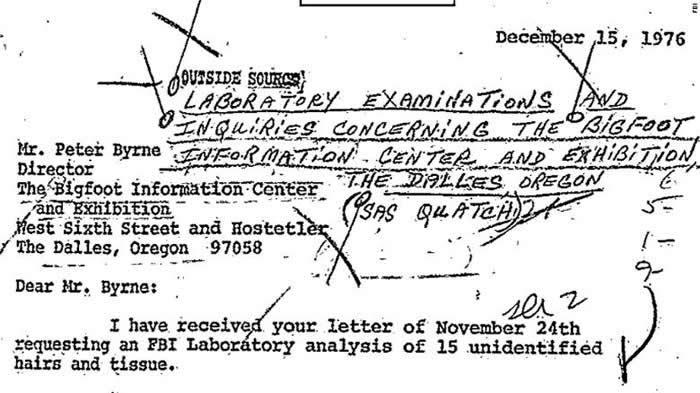美国联邦调查局(FBI)公布研究1976年雪人样本相关文件:毛发属于鹿科动物