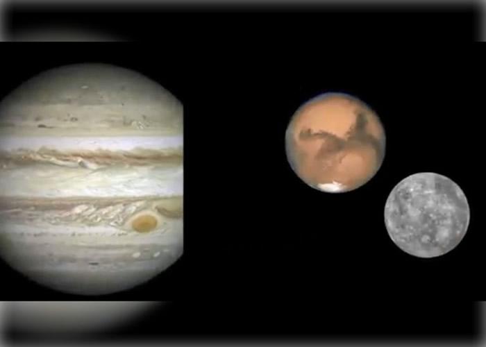 水星和火星(右图)将会在本月中旬看似无比靠近;左为木星。