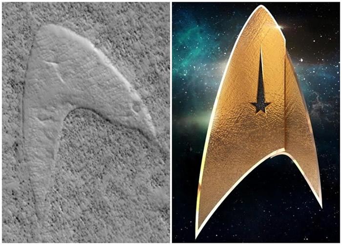 火星表面的箭嘴状物体(左图)酷似星际舰队的标志(右图)。