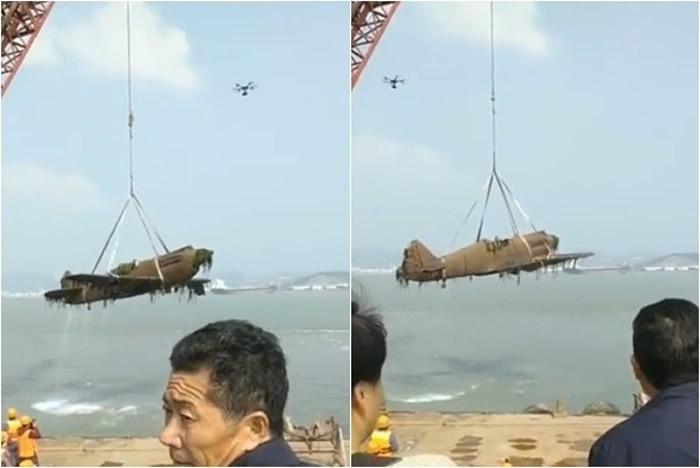 """广东陆丰海中捞出二战陈纳德的""""飞虎队""""P-40战鹰式战斗机?"""