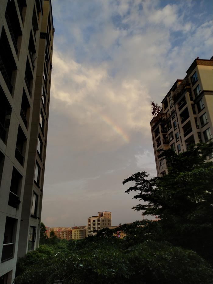 """几乎在同一时间,广州附近市县也在暴雨后出现难得一见的彩虹。(照片由网友""""羊""""提供)"""
