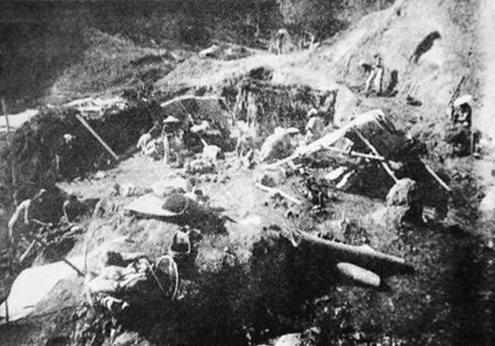 中国第一块旧石器发掘现场。