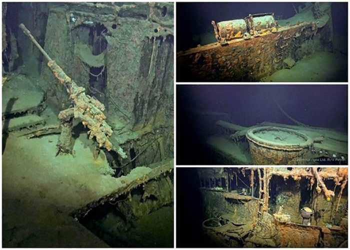 在巴拉望岛海域发现的摩耶号残骸,结构大致保持良好。