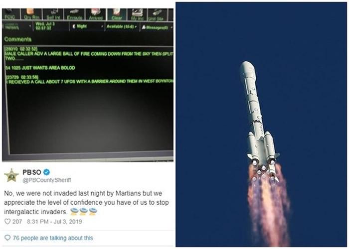 警方在社交网幽默回应(左图),有指火球为长征三号乙运载火箭的碎片(右图)。