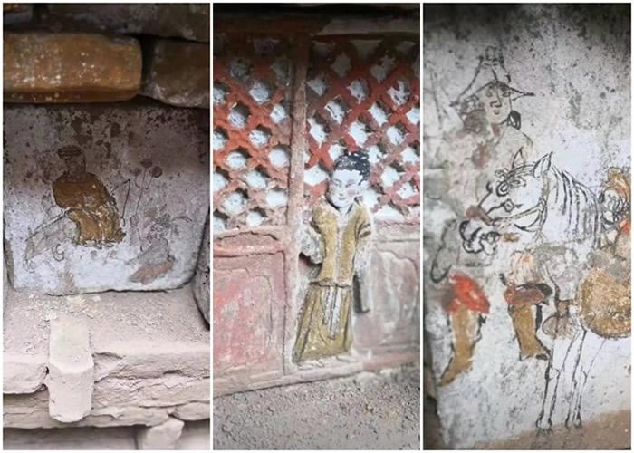 甘肃陇西村民修路时挖出宋朝古墓 彩绘砖块画有二十四孝故事