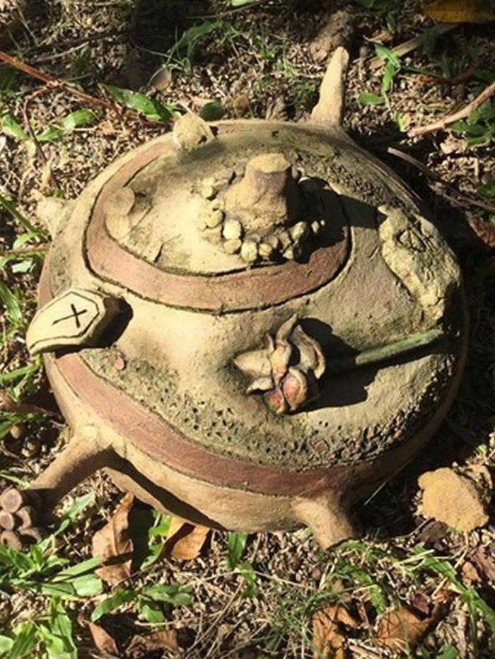 """澳洲布里斯本女子搬新家整理花园时挖出刻""""RIP""""字样陶罐 网友:赶快搬家"""