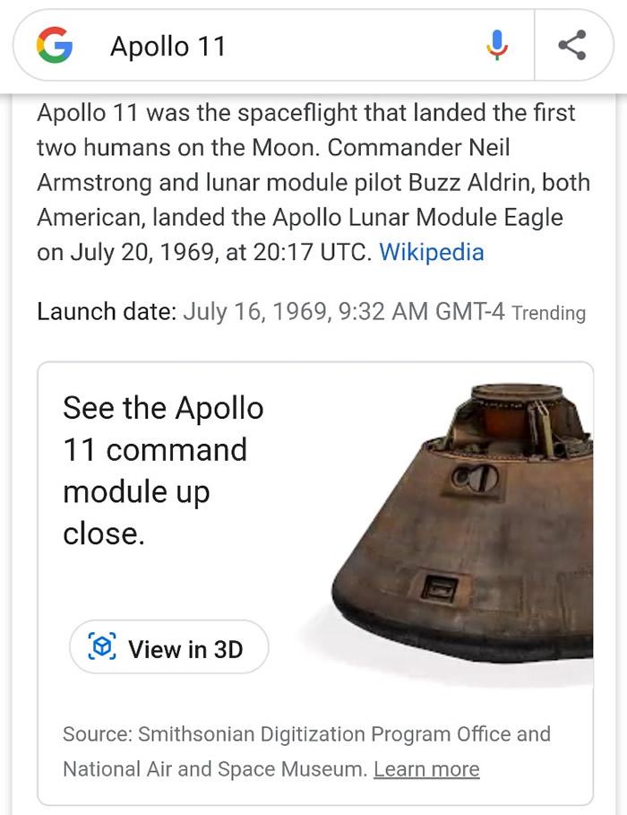 只需要在Google搜寻阿波罗11号即可把影像投射至现实中。