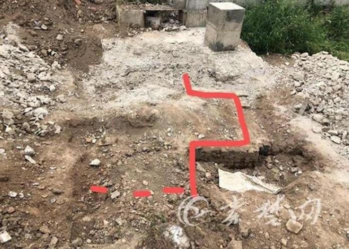 古墓发掘示意图。