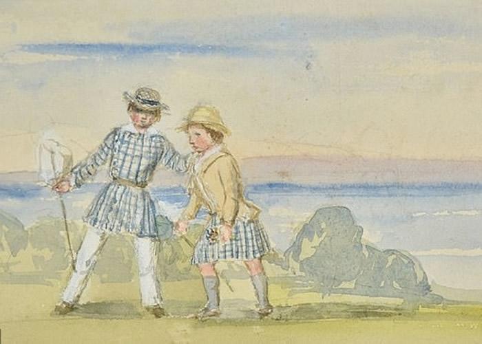 画中人是维多利亚女王的两个儿子在玩乐。