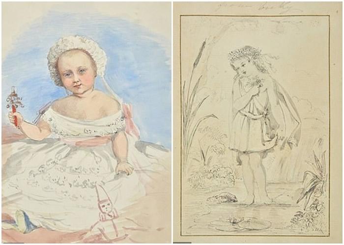 威廉二世手持玩具的婴儿画像(左图);女王用彩色铅笔素描长女(右图)。