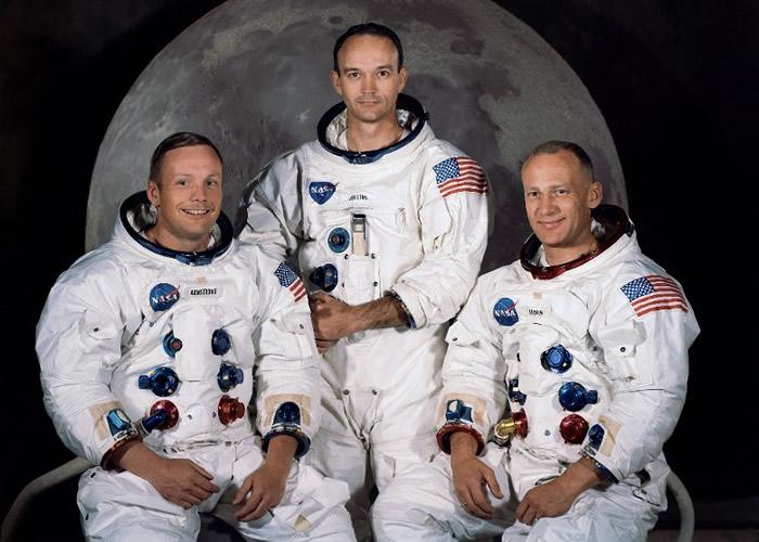 阿姆斯特朗、柯林斯和奥尔德林(左至右)登陆月球。