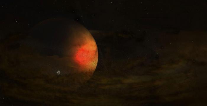 艺术家对PDS 70恒星系统的想象图。 环绕着巨行星的黯淡尘埃盘,可能会有颗新卫星正从此处诞生。 ILLUSTRATION BY S. DAGNELLO, NR