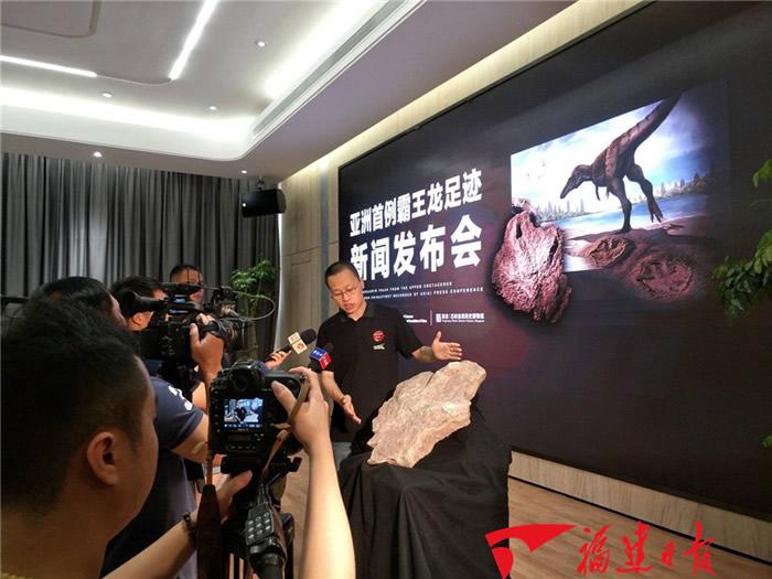 江西赣州发现亚洲首例霸王龙足迹 化石长达58厘米