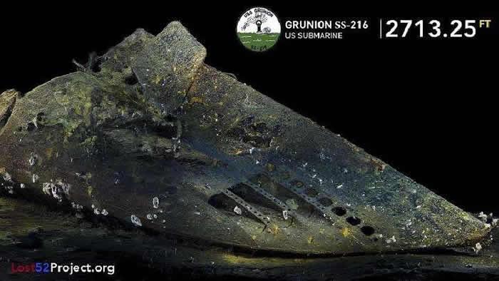 """美国发现二战时期沉没的""""银汉鱼""""号(USS Grunion)潜艇"""