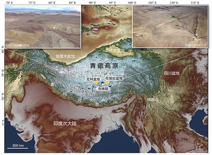 青藏高原中部古近纪-新近纪化石考察工作点及含化石剖面航拍图