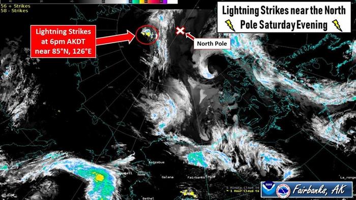 这片距离北极不到556公里的区域在8月10日星期六傍晚记录到许多闪电雷击的发生。 这是首次在这么北的地区见到这么多闪电雷击。 PHOTOGRAPH COURTE