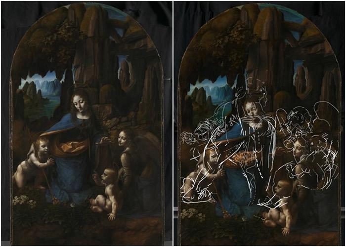 《岩间圣母》(左图)下的草图(右图白线)获披露。