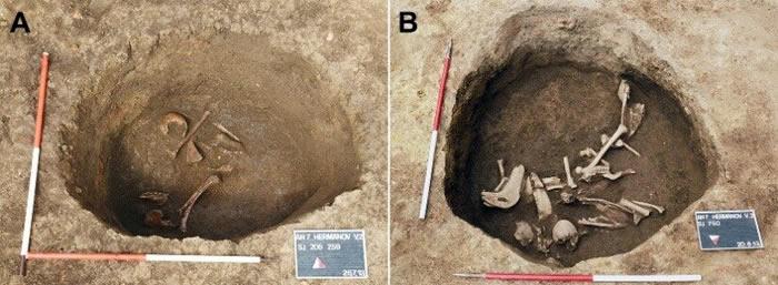 考古学家对克罗地亚奥西耶克市考古遗址2013年出土的怪异人类头骨进行研究