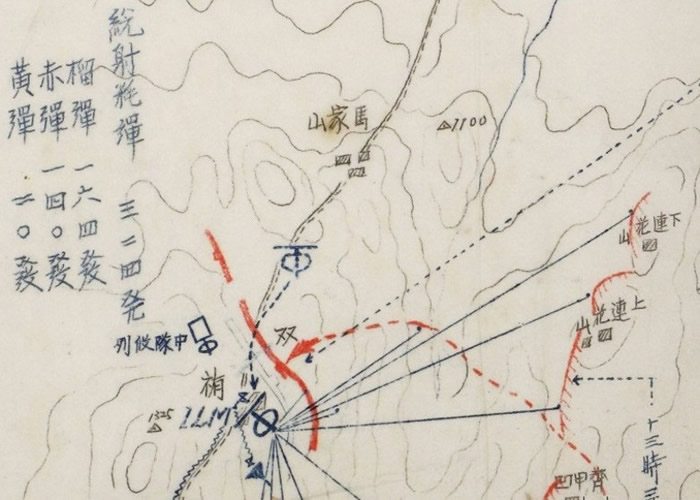 日军用地图纪录作战情况。