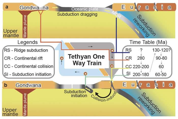 (a) 洋中脊消亡后, 俯冲板片拖拽作用于北侧的冈瓦纳大陆边缘致使其发生裂解作用; (b) 裂离自冈瓦纳的微陆块受俯冲作用的牵引, 漂移并与欧亚大陆发生碰撞作用