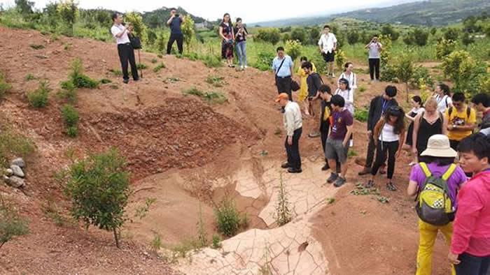 与会代表参观西王村恐龙蛋化石点