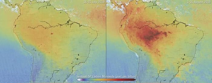 欧洲太空总署公开卫星图片显示亚马逊地带上月的空气污染问题加剧
